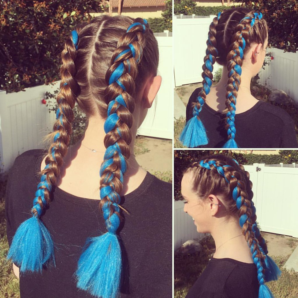 double dutch feedin braids with ���electric blue��� colored