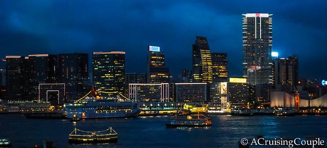 Boats in Victoria Harbor Hong Kong Skyline