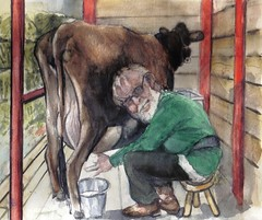Milking the cow for JKPP or portrait of Phillip. by Félix Tamayo