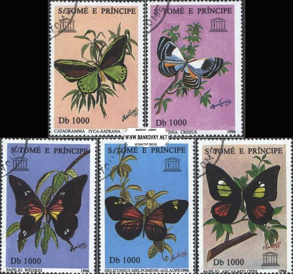 Známky Svätý Tomáš 1996 Motýle, razítkovaná séria
