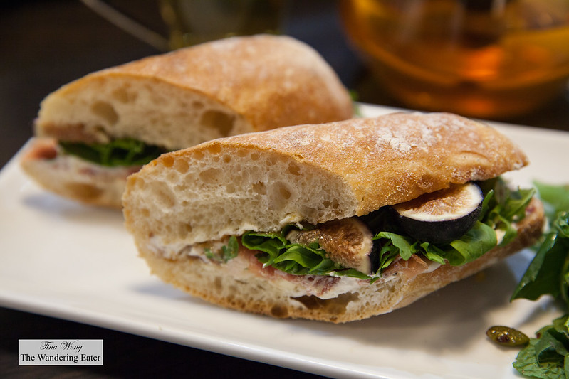 Prosciutto, arugual, ricotta sandwich in baguette