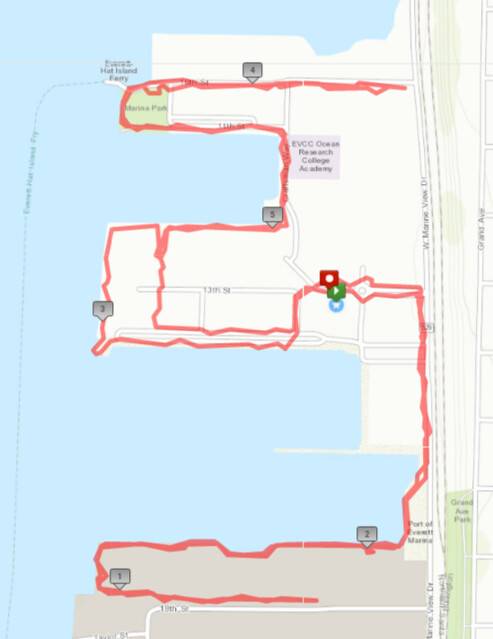 Today's awesome walk, 5.67 miles in 1:53, 12,410 steps
