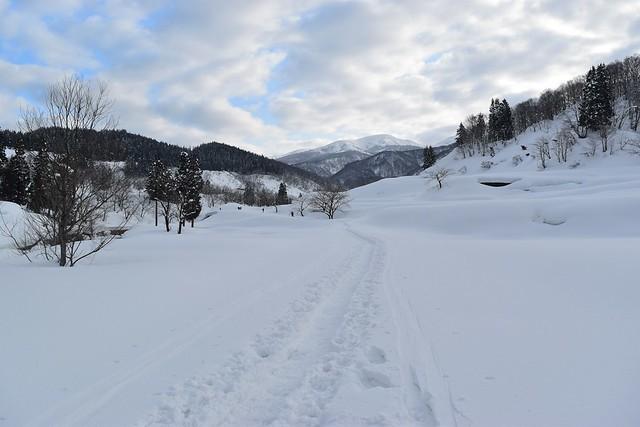 冬の守門岳 登山道入り口