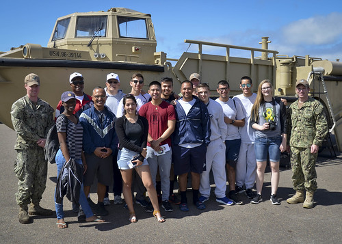 SAN DIEGO (NNS) -- Beachmaster Unit One (BMU-1) hosted 10 Lancaster High School Air Force Junior Reserve Officer Training Corps (JROTC) students on April 19.