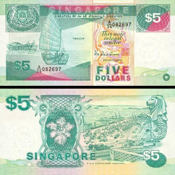 5 Dolárov Singapúr 1989, P19