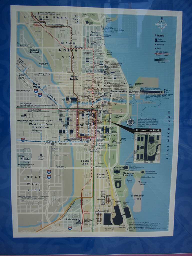 Map Of Downtown Chicago Michigan Avenue Chicago Illinoi