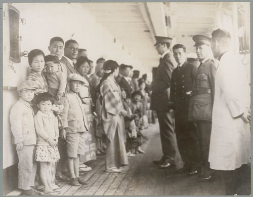 Examining Passengers Aboard Ships, Vessel is the Shimyo Maru, Angel Island, California, 1931 | by The U.S. National Archives