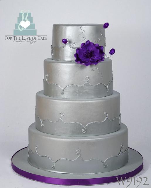 W9192 Silver Purple Wedding Cake Toronto