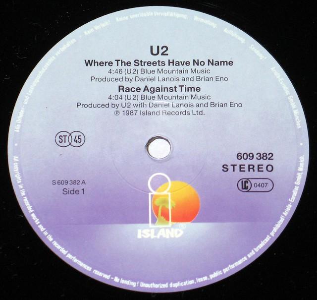 U2 Where the Streets Have no Name Brian Eno