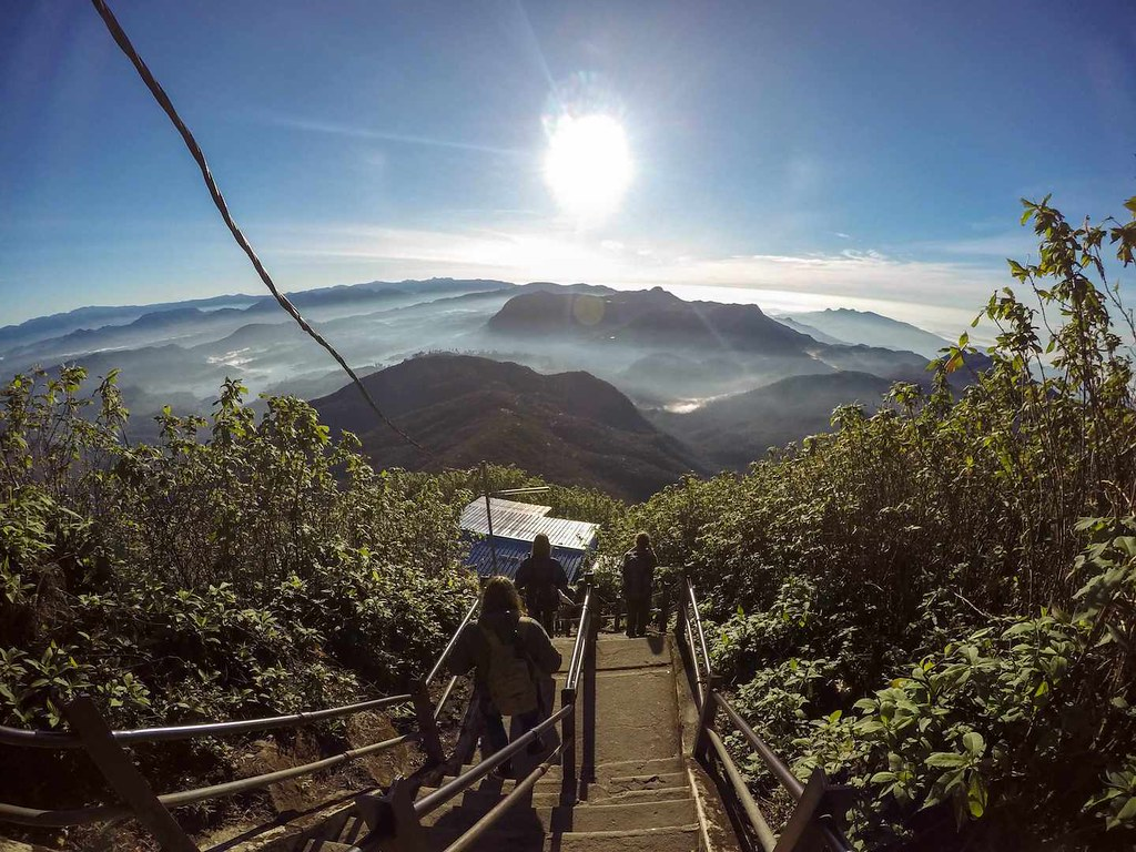 Coming down from Adam's Peak in Sri Lanka