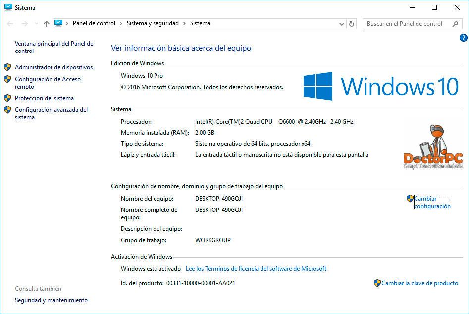 Agregar o cambiar la imagen OEM de Información del Sistema en Windows 10
