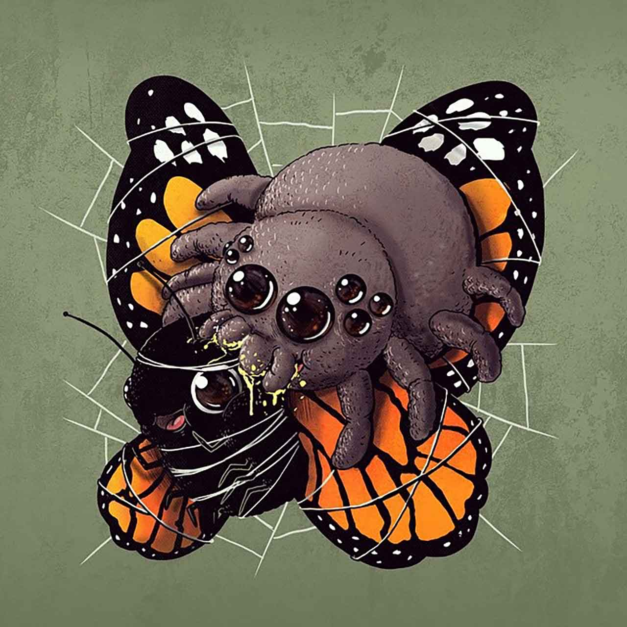 "Artist Creates Extremely Adorable ""Predator & Prey"" Illustrations #22: Spider & Butterfly"