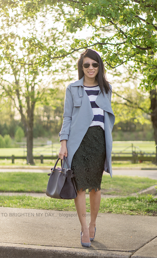 gray drape trench, rugby striped top, olive green lace pencil skirt, gray tote, gray suede pumps