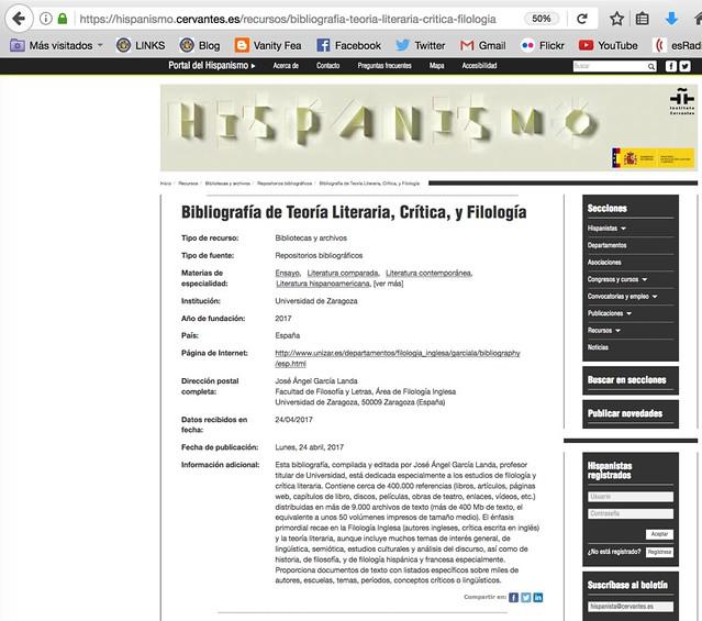 Mi bibliografía, en el Portal del Hispanismo