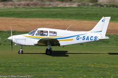 G-SACS - 1988 build Piper PA-28-161 Cherokee Cadet, rolling for departure on Runway 26R at Barton