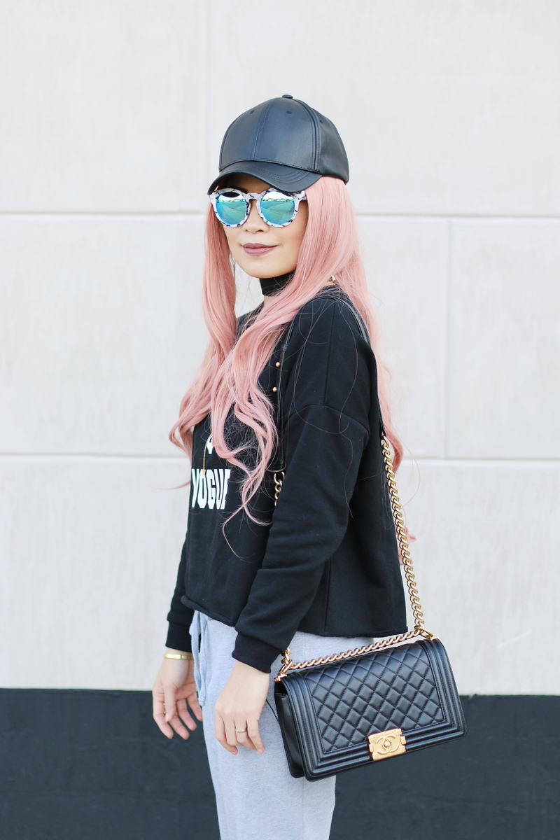 vodka-vogue-sweater-sweatpants-pink-hair-chanel-boy-bag-2