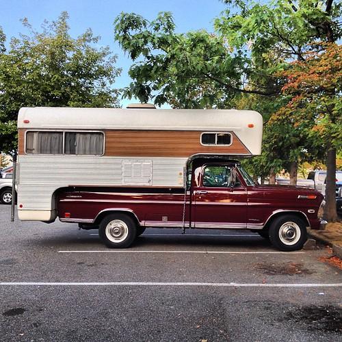 old ford ranger truck with a vintage chinook camper flickr. Black Bedroom Furniture Sets. Home Design Ideas