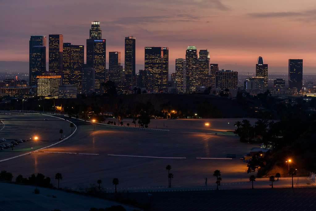 Dodger Stadium parking lot and Downtown Los Angeles | Flickr