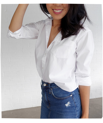 White Poplin Cotton Shirt by Grana