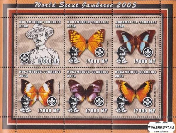 Známky Mozambik Motýle, nerazítkovaný hárček