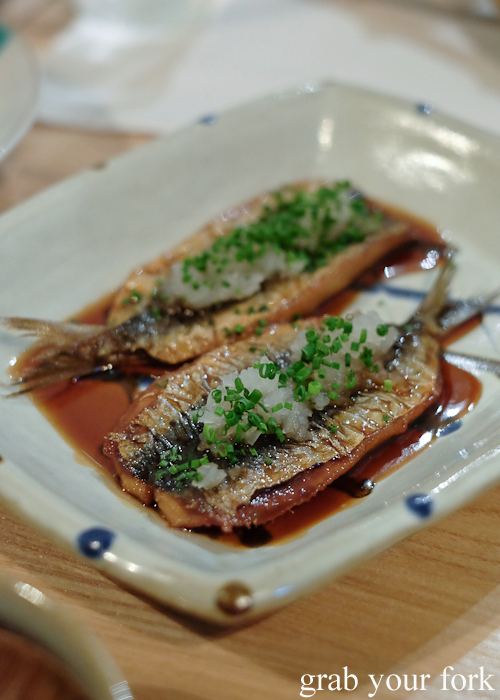 Grilled sardines with onion and chive at Restaurant Sasaki Japanese restaurant in Surry Hills Sydney