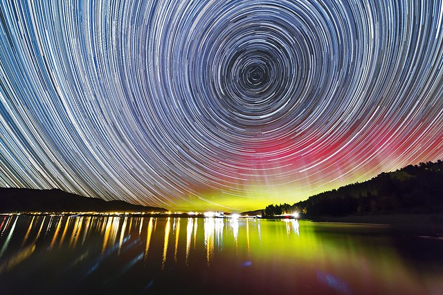 Star trails and Aurora over Lake Hawea, New Zealand