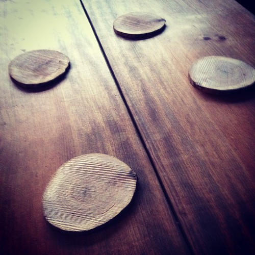 Oak drink coasters. Cut from the tree we split last weekend.