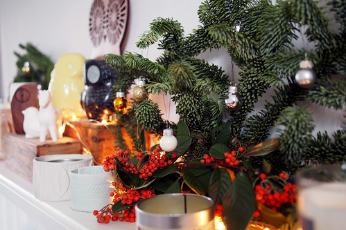 Christmas mantel | by What Katie Does
