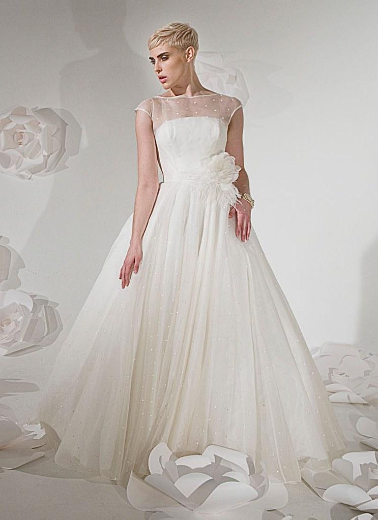 Organza Boat Neck And Cap Sleeve Overlay Wedding Dress