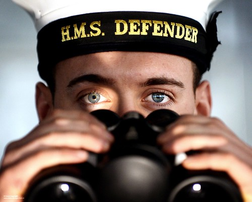 Sailor with Binoculars on HMS Defender | by Defence Images
