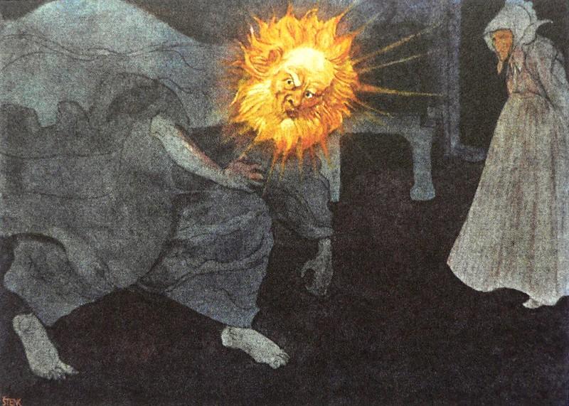 """Artus Scheiner - Illustration from """"Tři zlaté vlasy děda Vševěda"""""""