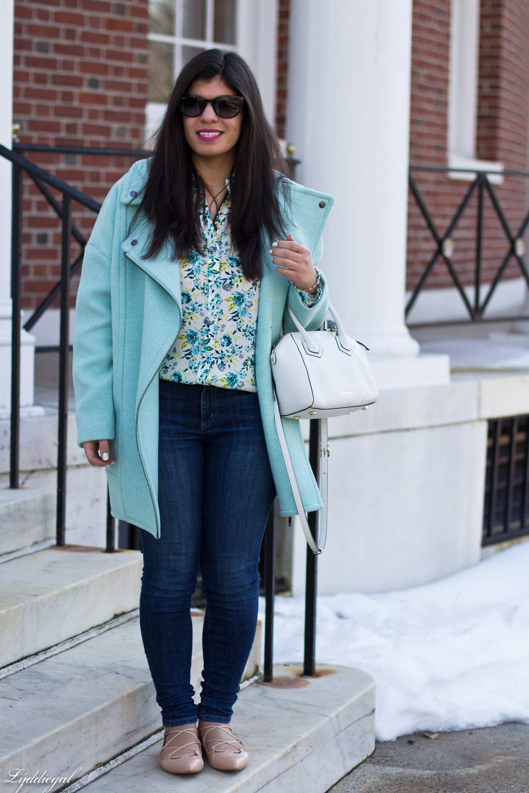 mint green cocoon coat, floral blouse, lace up flats, spring outfit-2.jpg