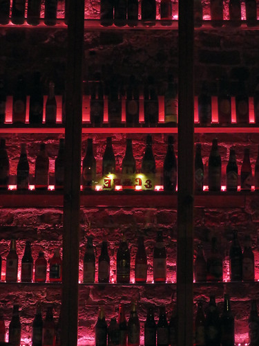 Bottles arrayed on a wall in the Porterhouse Temple Bar in Dublin, Ireland