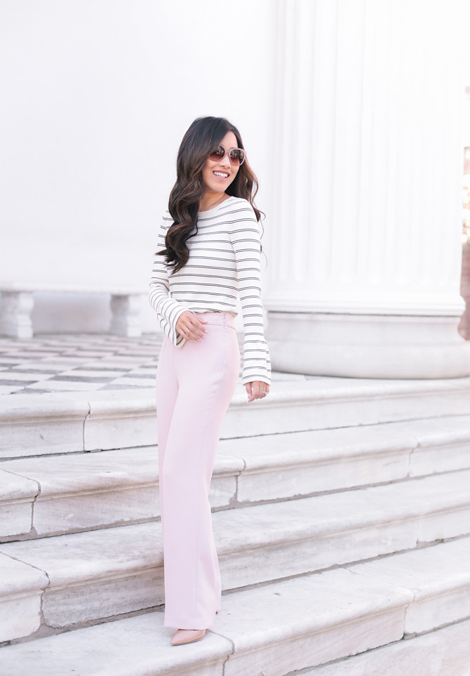 talbots pink trouser pants ann taylor stripe sweater petites