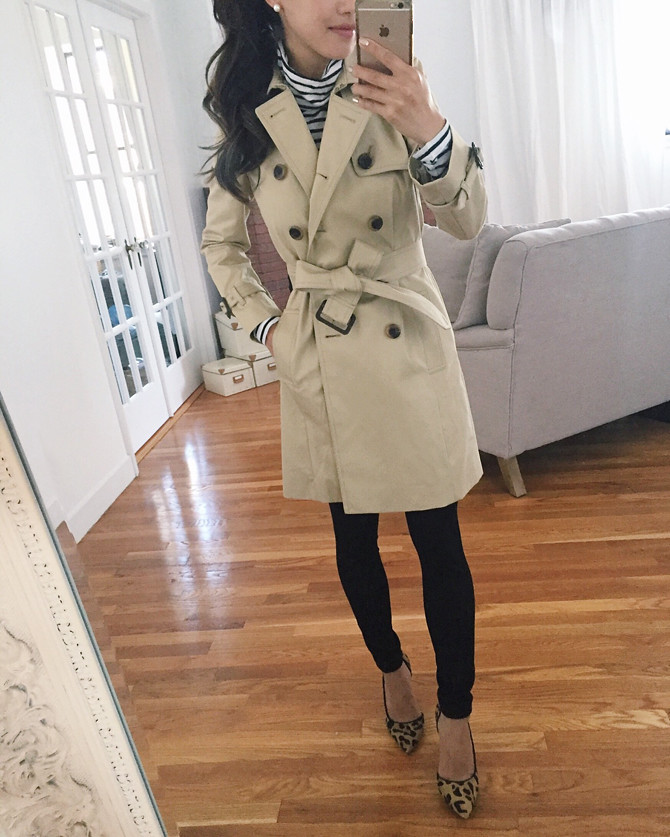 j crew classic khaki icon trench coat petite review