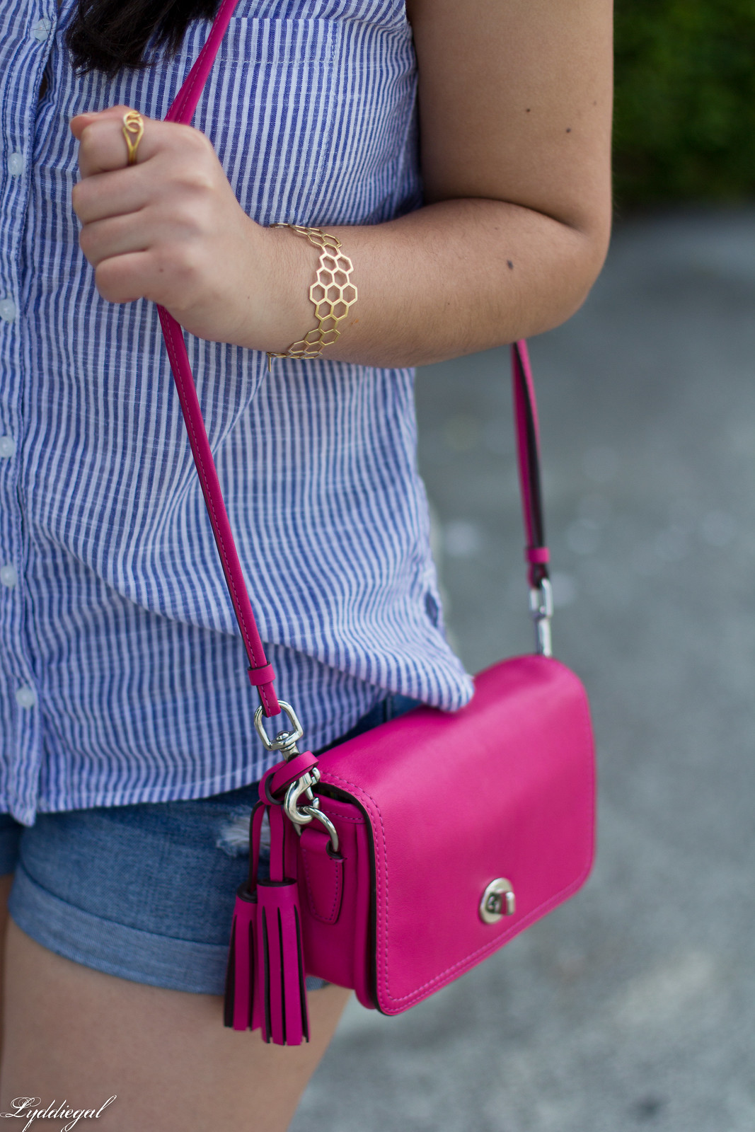 striped shirt, denim shorts, panama hat, pink coach penny bag-4.jpg