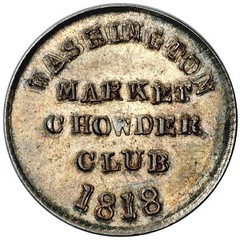 1818 Washington Market Chowder Club Token reverse