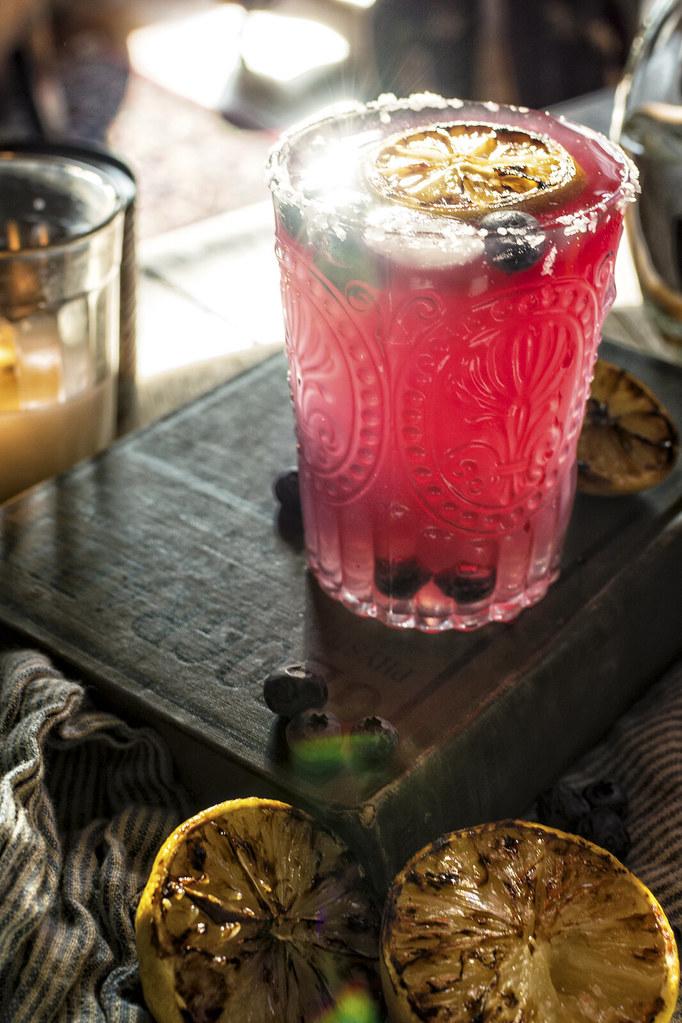 Fresh Muddled Blueberry Margarita Cocktail Recipe