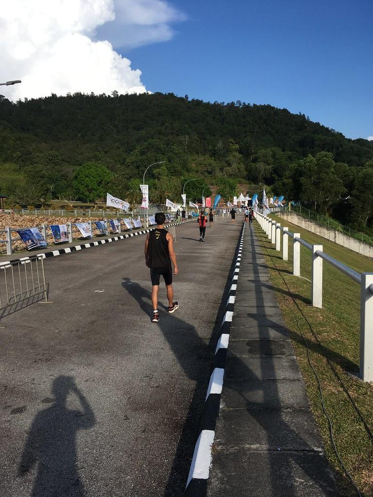 running to the dam