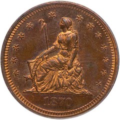 1870 Barber seated Liberty pattern 25cent obverse