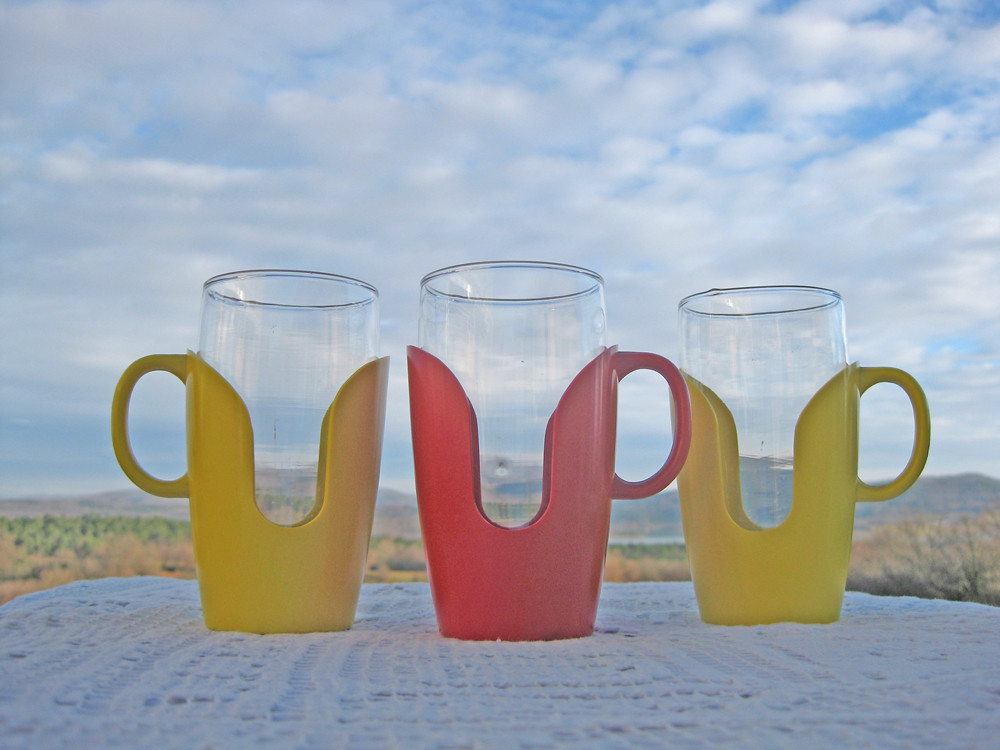 Drinking Glasses With Bright Colored Plastic Holders Tall