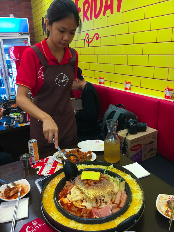 Yoogane Dak Galbi 1 Utama - Army Stew with Cheese Ring and Egg Wash - Cooking