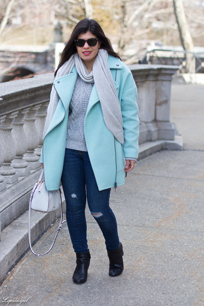 mint green cocoon coat, grey sweater, scarf, white bag-1.jpg