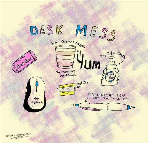 Drawings of items on my desk