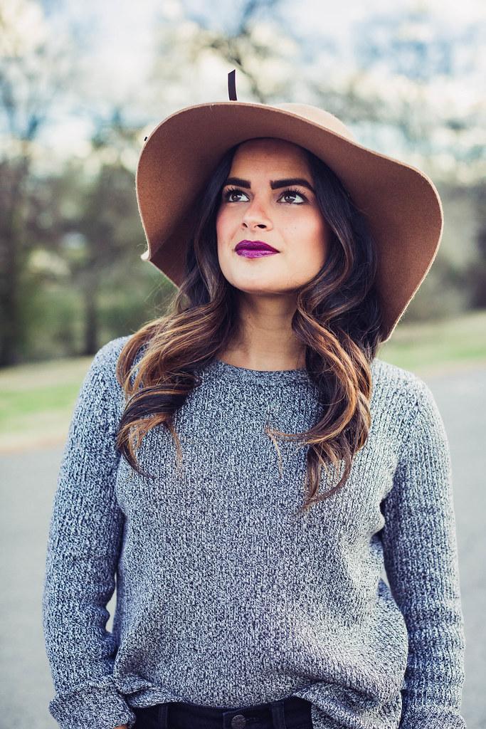 Priya the blog, Nashville fashion blogger, camel felt floppy hat, Spring outfit, Urban Decay lipstick in Venom