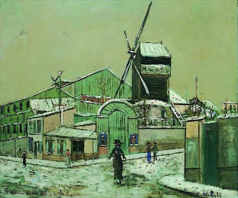 モーリス・ユトリロ《雪のムーラン・ド・ラ・ギャレット、モンマルトル》(1933-35年頃、マリーズ&マックス・マレシャル夫妻蔵、パリ)