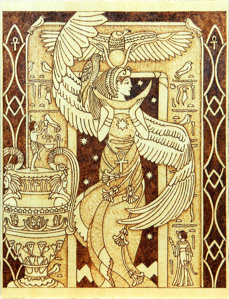 Isis egyptian goddess of motherhood and magic wooden pyrog for Home wallpaper egypt