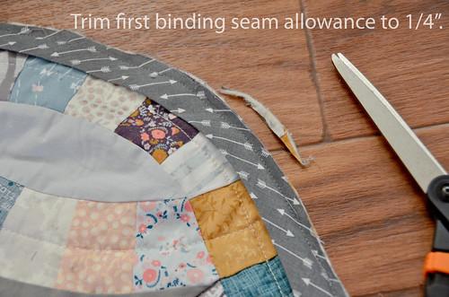 "1. Trim binding seam allowances to 1/4"""