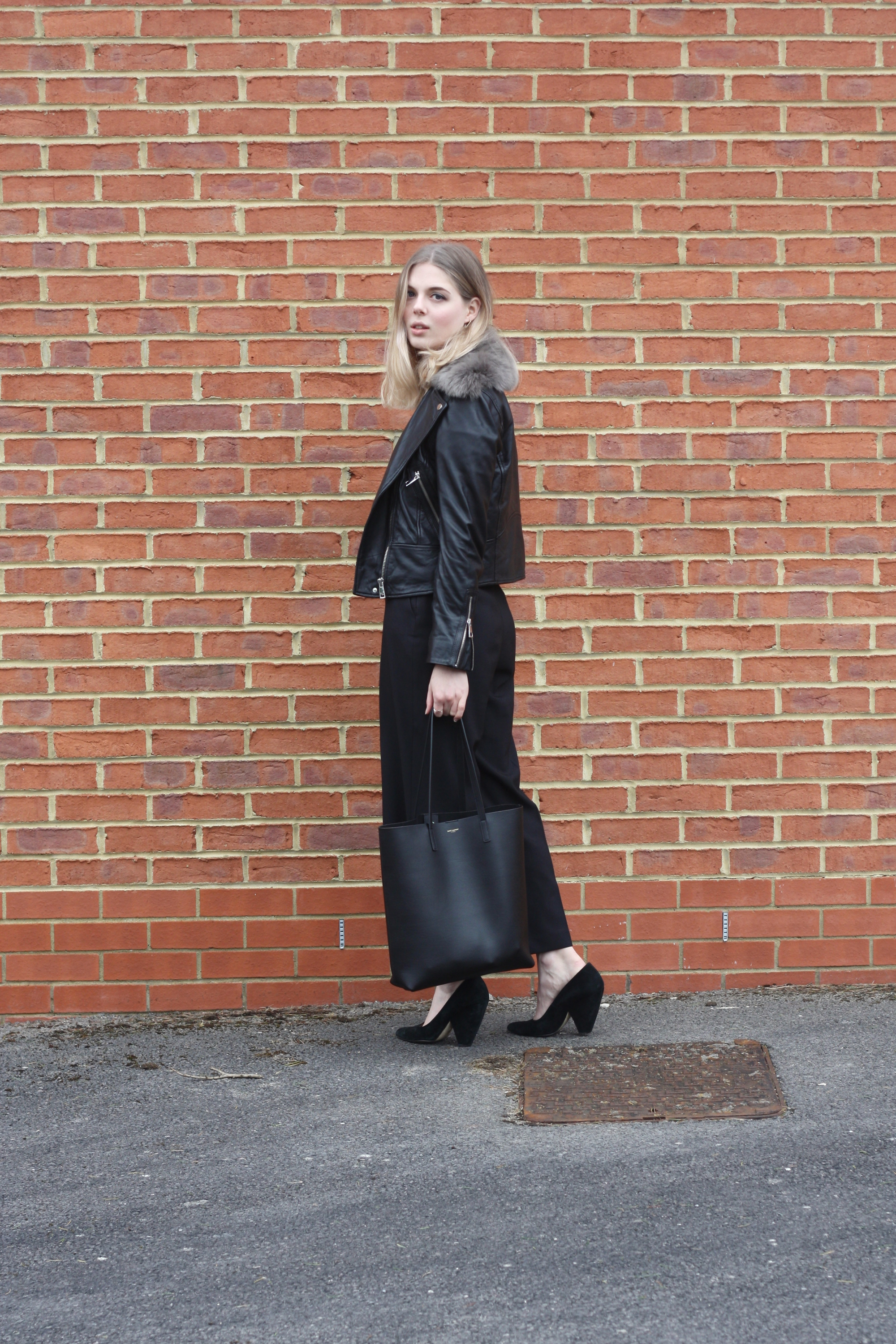 Zara black culottes, Saint Laurent black leather tote and Whistles suede court shoes