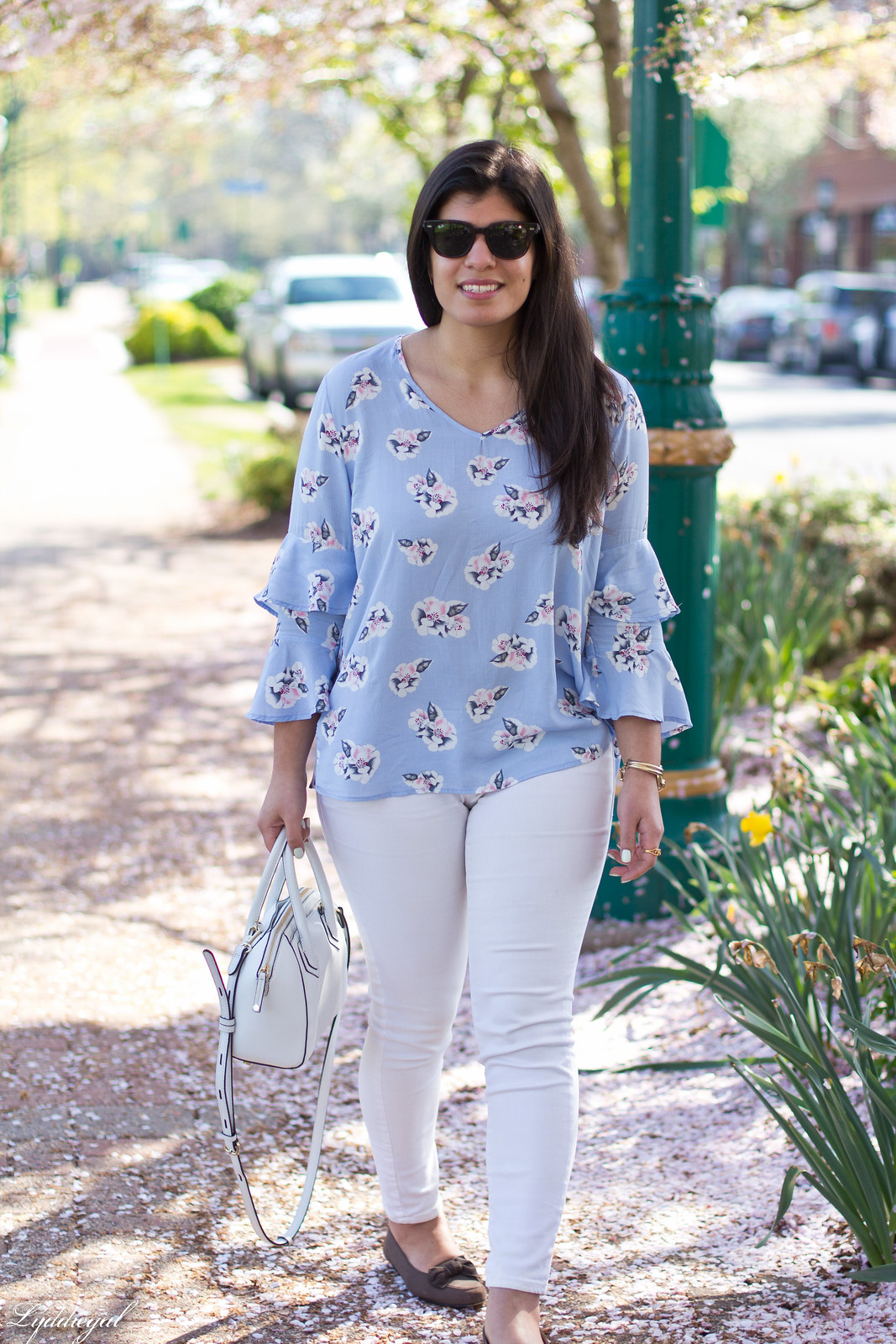 Bella Ella Blouse, white jeans, brown bow loafers, spring outfit-8.jpg